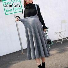 GRRCOSY Korean Skirts Womens Autumn Maternity Elastic Waist Strap Skirt Pregnancy Long Clothes For Pregnant Women