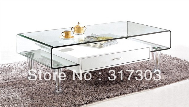 Stainless Steel Foot, Glass Tea Tables With Drawer, Sidetable, Table, Livingroom  Furniture