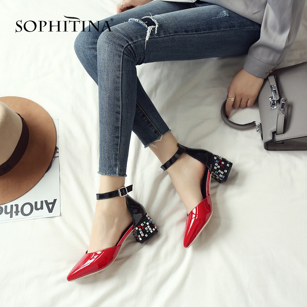 SOPHITINA Sandals Unique Square Heel Fashion Patent Leather Hot Sale Sandals Sexy Comfortable Pointed Toe Women's Shoes MO170