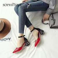 SOPHITINA Unique Square Heel Sandals Fashion Patent Leather Hot Sale Women's Shoes Sexy Comfortable Pointed Toe Sandals MO170