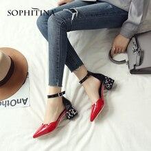 SOPHITINA Unique Square Heel Sandals Fashion Patent Leather Hot Sale Women's