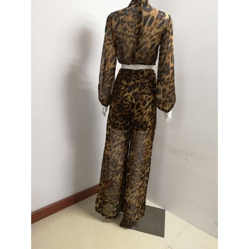 Clubwear À Mode Femmes Automne 2 Décontracté Mince Modèle En Combinaisons Longues Pièces Combinaison Gros 2018 Ensemble Léopard Nouveau Fête Manches qYXqg0T