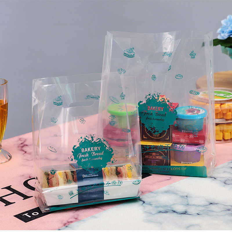 50pcs Plastic Gift Bag Baked Food Packaging Bag with Handle Party Wedding Plastic Candy Cake Bread Wrapping Plastic Bags