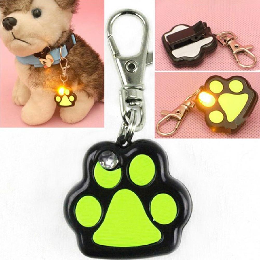 TINGHAO Pet Dog LED Flashing Night Light Footprint Paw Print Buckle Blink Collar Pendent