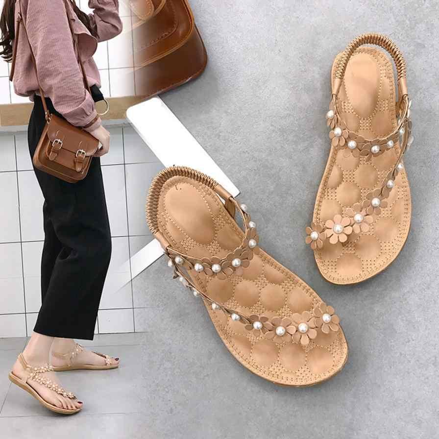 b0edab407 SAGACE Shoes Sandals Women Summer Bohemia Flower Beads Flip-flop Shoes Flat  Sandals fashion Casual