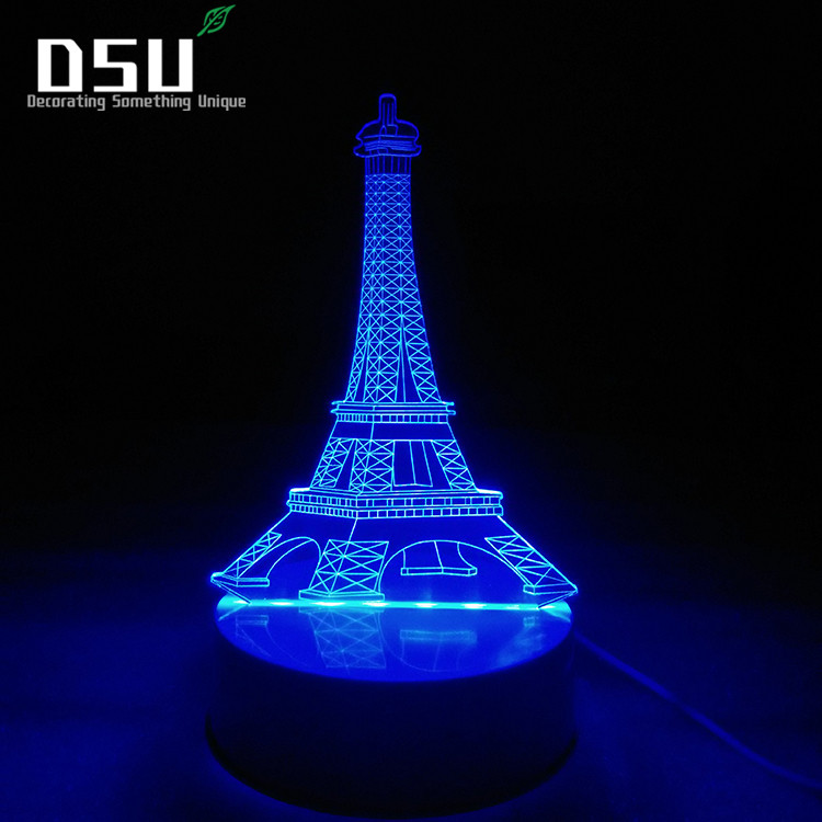 3D LED Eiffel Tower Optical LED 7 Color Change Remote Switch USB Powered Amazing Art Desk Table Night Light Bedroom Home Decor