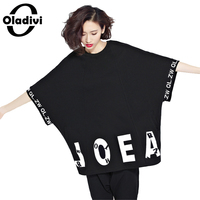 Oladivi Plus Size Women T Shirt Letter Printing Batwing Sleeve Tumble Tops Tees Shirts Cotton Short