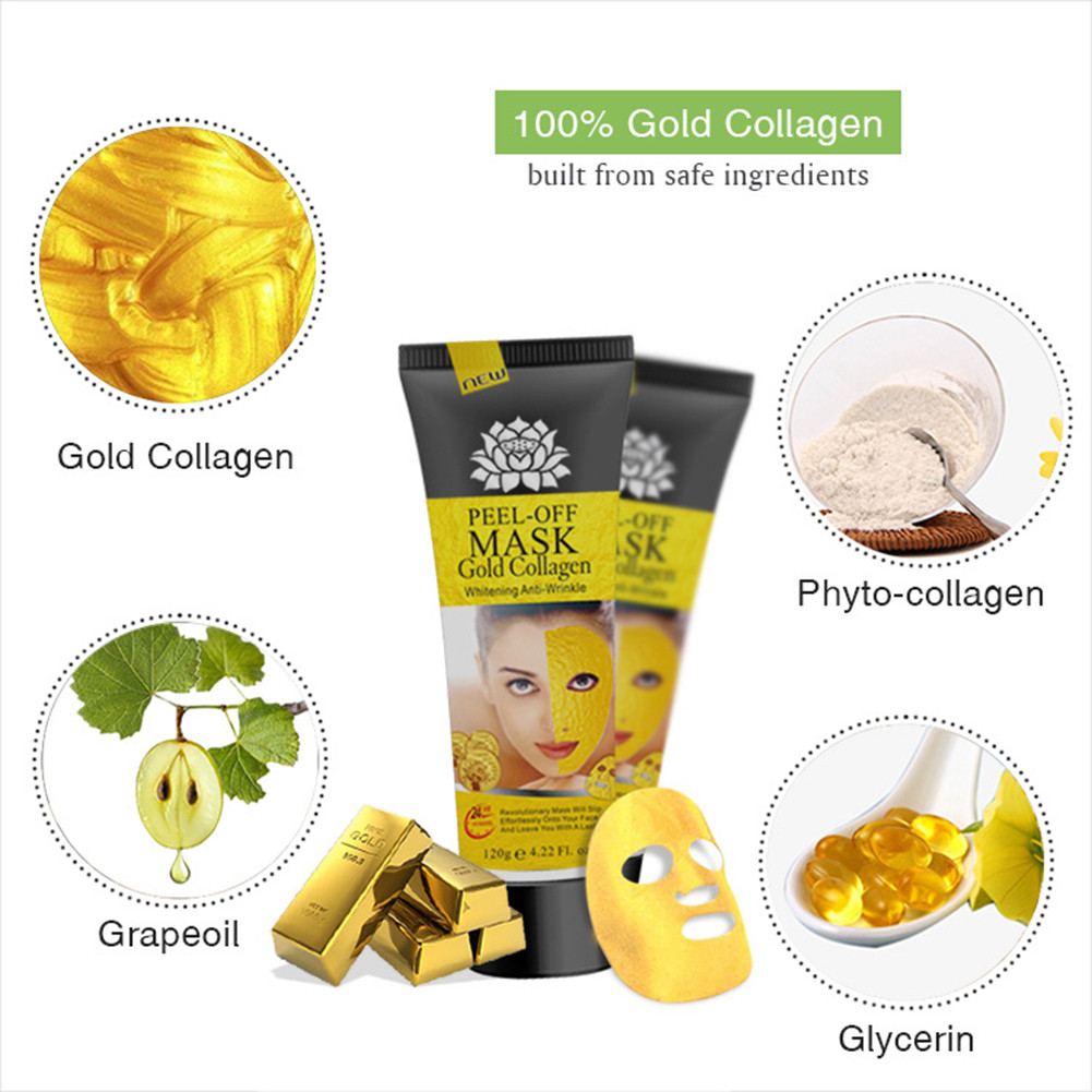 24K Yellow Gold Collagen Facial Face Mask Anti Aging