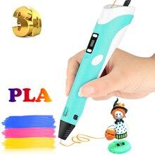 Печать 3D Ручка PLA нити 3D Ручка Canetas Criativa подарок на день рождения для детей рисунок с дисплеем 3D ручка печать Mais Vendidos