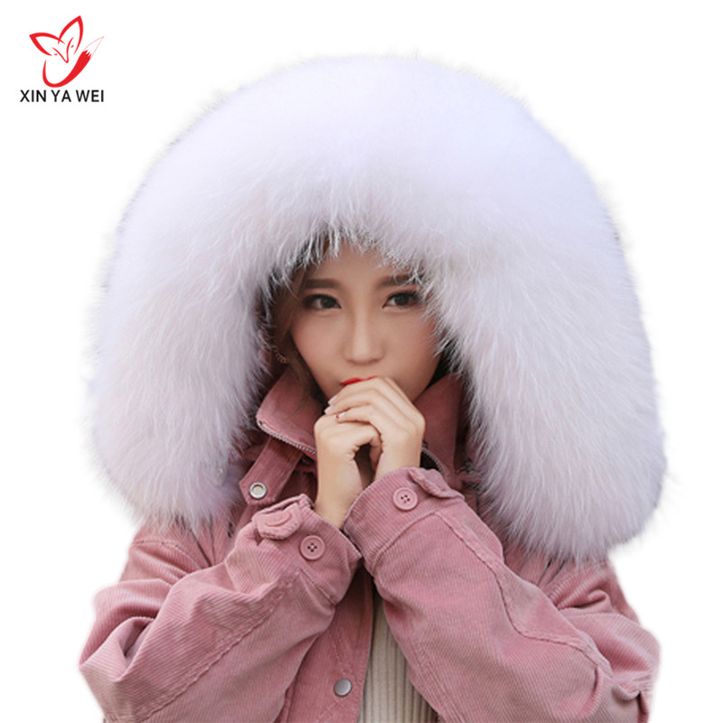 Women Winter Coat Female Warm Shawl Thick Raccoon Fur Collar Scarves Neck Warmer 100 Natural Fur