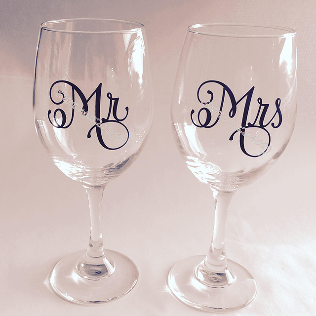 58c3091c4a2 18pcs/set Mr & Mrs Wine Glasses Sticker Newly Weds Couples Gift Champagne  glass decal toasting wedding Party Decor sticker EB016