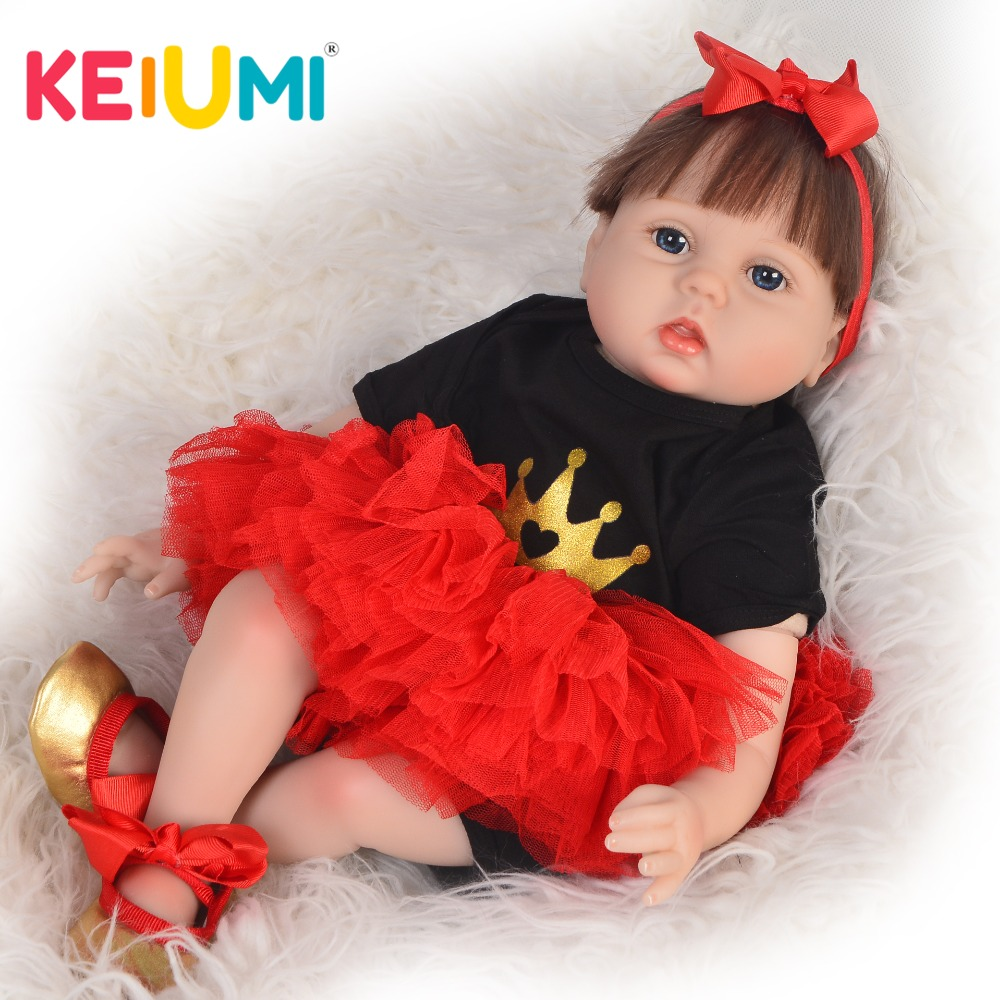 KEIUMI 22 Inch Lifelike Reborn Baby Doll Cloth Body Fiber Hair Realistic Princess Girl Baby Doll Toy For Kid Christmas Gifts keiumi realistic silicone reborn babies doll lifelike 22 princess baby girl doll gold hair bebe reborn toys for kids gifts