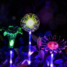 цены Solar Multi-Color Changing LED Flower Stake Lights  Outdoor Garden Path Yard Decoration Lawn Flower Party Lamp