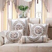 CURCYA роскошный жаккардовый цветочный бежевый диван наволочка Европейский французский кантри декоративная подушка для дома квадратная прям...