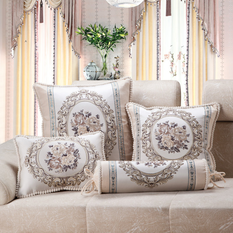 Luxury Jacquard Floral Beige Sofa Cushion Cover European