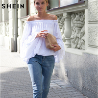 SHEIN Womens Blouses For Spring Summer Ladies 2016 Hot New White Boat Neck Long Flare Sleeve