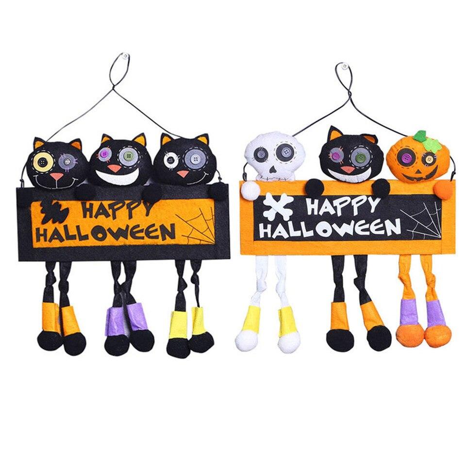 US $6 96 OFF Happy Halloween Door Hanging DIY Decoration Cute Black Cat Spooky Pumpkin Door Hanging for Halloween Make up Party Supplies Party DIY