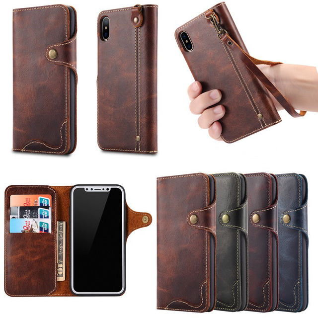 38ecdd3c327 New Natural Real Genuine Solt Leather Wallet Case For Apple IPhone X 8 Plus  Phone Sleeve