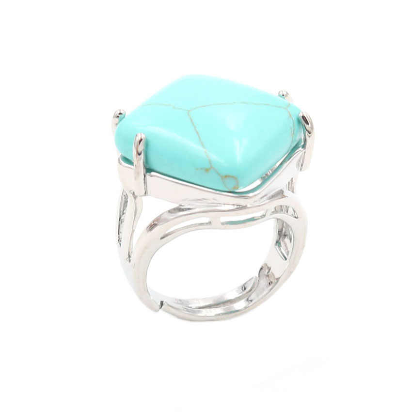 YJXP シルバーメッキ菱形形状調整可能な指輪グリーントルコ石石婚約ジュエリー