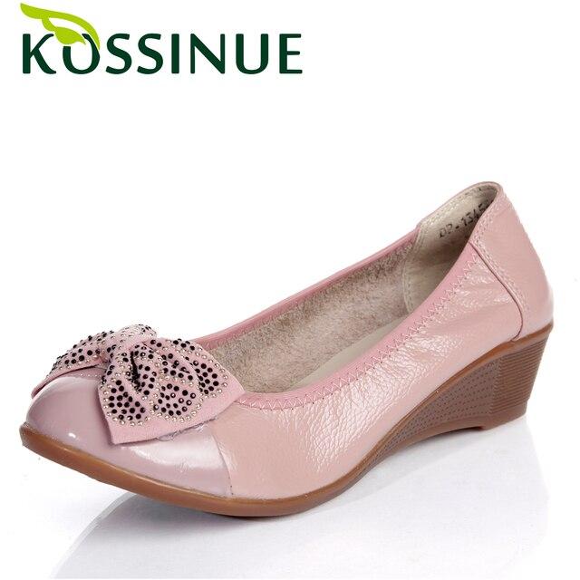 Плюс размер 34-41 Обувь Из Натуральной Кожи Женщины Насосы Горный Хрусталь и Лук Клинья Обувь для женщин мода осень обувь насосы 5 цвета