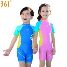 купить 361 Children Swimwear Pink Blue One Piece Boys Girls Swimsuit Kids Bathing Suit for Boys Swimming Suit Children Swimming Costume дешево