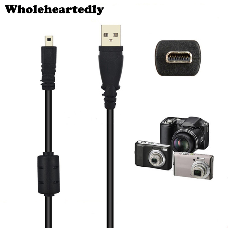 Wholesale Black 4.9 Ft 59 Inch 1.5M 8 Pin UC-E6 Camera USB Data Cable Cord For Olympus Pentaxist FinePix For Sony Nikon Coolpix