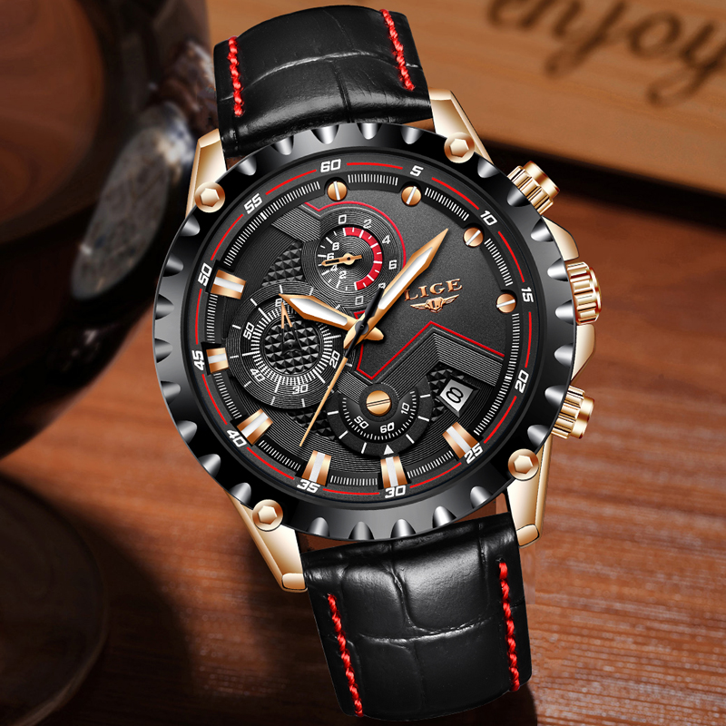 LIGE 腕時計メンズファッション陸軍ミリタリー時計メンズ腕時計トップブランドの高級革防水スポーツウォッチレロジオ Masculino  グループ上の 腕時計 からの クォーツ時計 の中 3