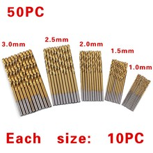 50Pcs/Set Twist Drill Bit Set electric High Steel cordless Coated Dremel Drill bits with Woodworking 1/1.5/2/2.5/3mm For Metal