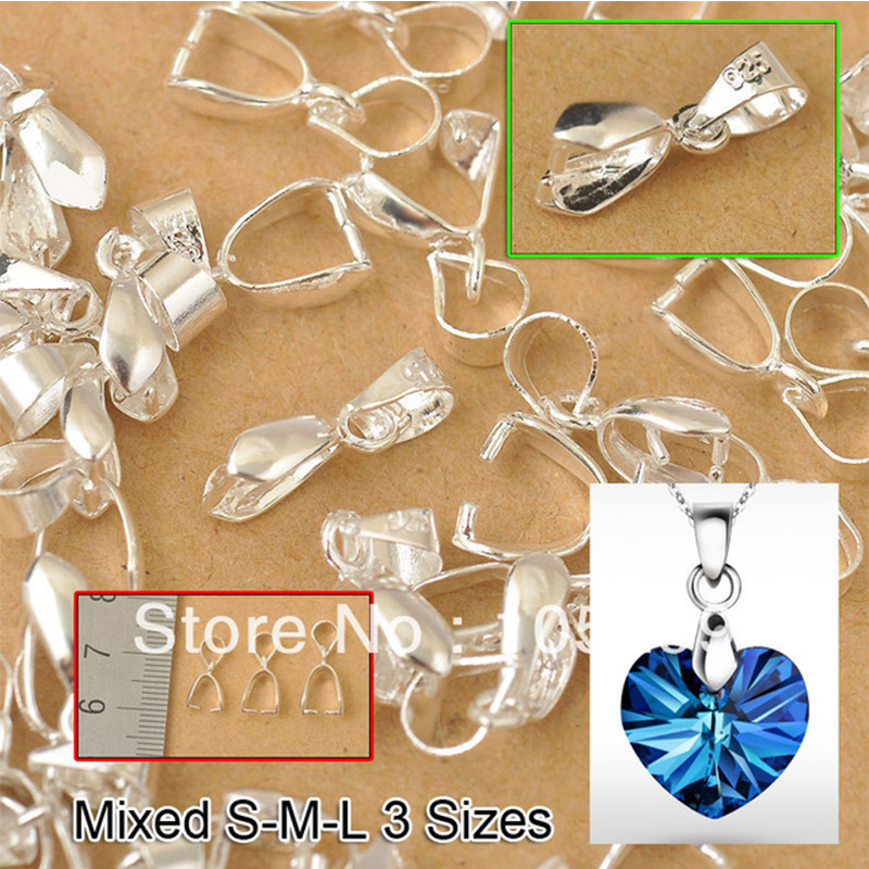 JEXXI 3 Size S-M-L Mix 60PCS Wholesale 925 Sterling Silver Findings Bail Connector Bale Pinch Clasp 925 Silver Pendant Fittings