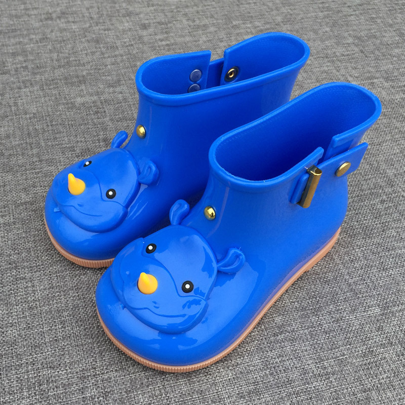 2017 Cute Rhinoceros Cartoon Design Kids Rainboots Boys Girls Children Water Shoes Sapato