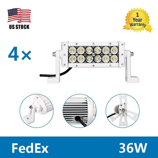4Pcs 8u0027u0027 36W LED Light Bar Work Light Offroad Car Driving Lights Lamp Wiring