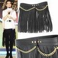 Women's long tassel cummerbund punk cronyism all-match metal chain skorts decoration black PU leather waist belt  for feninino