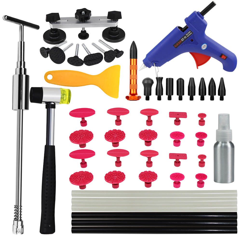 WHDZ PDR Tools Set Paintless Dent Repair kit Car Dent Removal Hand Tool Set PDR Slider hammer Hot Melt Glue Sticks pulling tabs pdr tool kit for pop a dent 57pcs car repair kit pdr tools pdr line board dent lifter set glue stricks pro pulling tabs kit