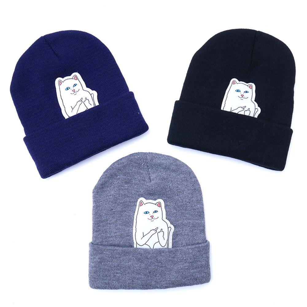 2018 New Women Winter Hats Cat Vertical Middle Finger Knit Hats Hot Ears   Beanie   Hat Hip Hop Hedging Men Cotton Hat