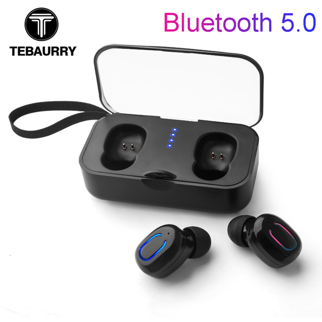 206c9da926b TEBAURRY T18S Invisible Bluetooth Earphones 5.0 TWS Mini Wireless Earbuds  Stereo Deep Bass Headset with charging box Portable