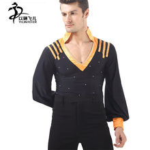 NEW Men's Dance top/Shirt ,Latin tango Salsa Dance costume for Competition and performance long sleeve SM021