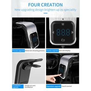 Image 5 - Trasmettitore FM Del Telefono a mani libere di trasporto Tasto di Tocco Auto MP3 LED Bluetooth Car Kit Vivavoce Lettore MP3 Radio Adattatore USB caricabatteria Da auto
