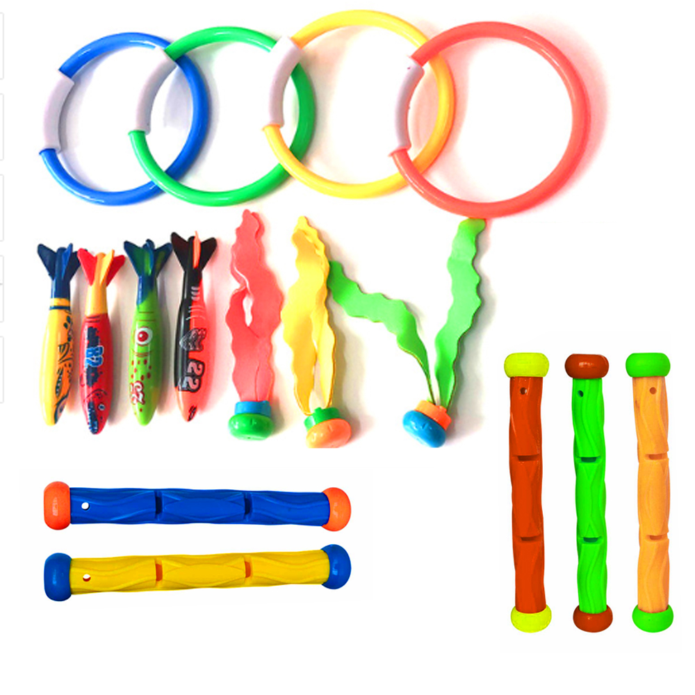1Pcs Swimming Pool Diving Toy Torpedo Water Ring Seaweed Baton Various Children Water Fun