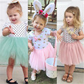 New Baby Kids Birthday Girl Dress Cute Short Sleeve Princess Lace Flower Shell Dot Solid Lace Tulle Party Dresses For Girls