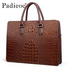 Padieoe 2017 neue designer herren aktentasche marke business casual einkaufstasche luxus krokoprägung vollrindleder handtaschen