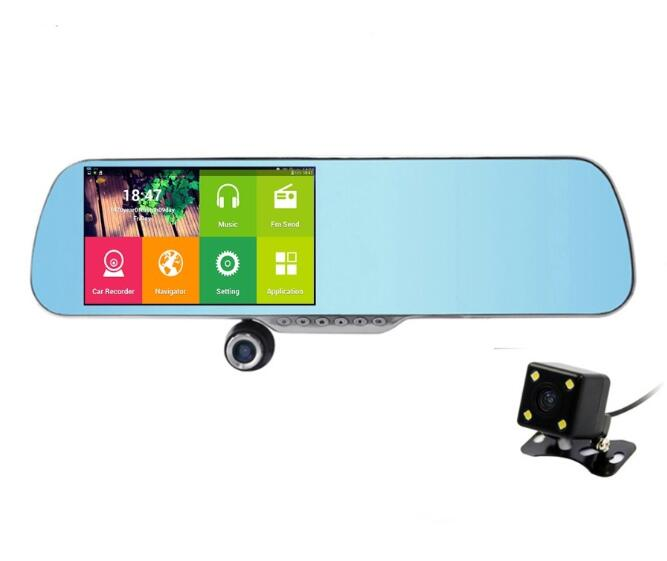 5'' Touch Android dvr mirror camera GPS Navigation 8G ROM DVR Camera Video Recorder WIFI+WDR Function Free Map