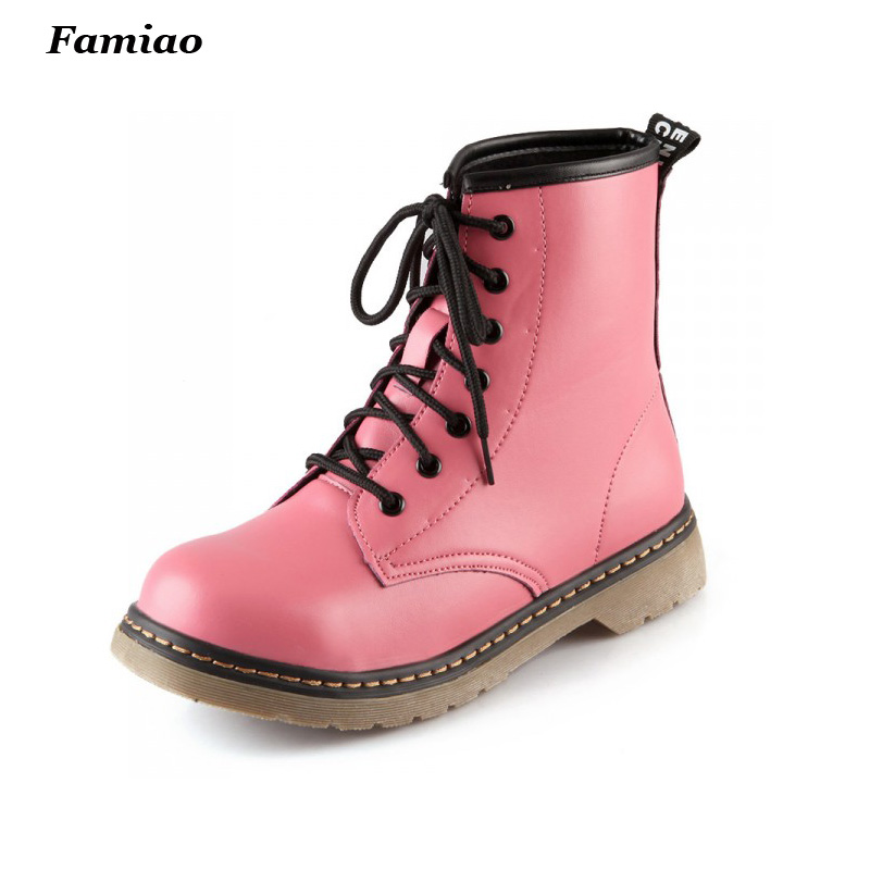 Punk Martins Boots Women High Ankle Riding Boots Large Size Lace Up Botines Mujer 2016 Autumn Winter Motorcycle Botas botines mujer 2016 autumn spring women boots lace up print motorcycle ankle boot ladies flat shoes woman botas mujer xwx3362