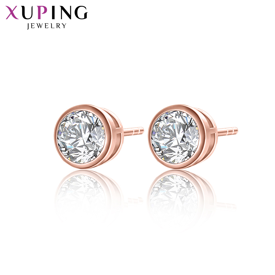 Xuping Elegant Earrings New Design Gold Color Plated Synthetic Cubic Zirconia Jewelry Wedding Stud Earrings Y8-2012