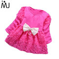 2017 Spring New Girls Baby Top Dress Rose Flowers Stitching Pearl Bow Long-sleeved Fashion Primer Shirt Infants Apparel 4 Colors