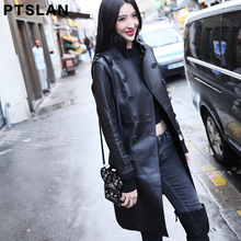 Ptslan 2017 Women'S Genuine Sheepskin Leather Coat Female Real Lambskin Coats Long Basic Good Qualit