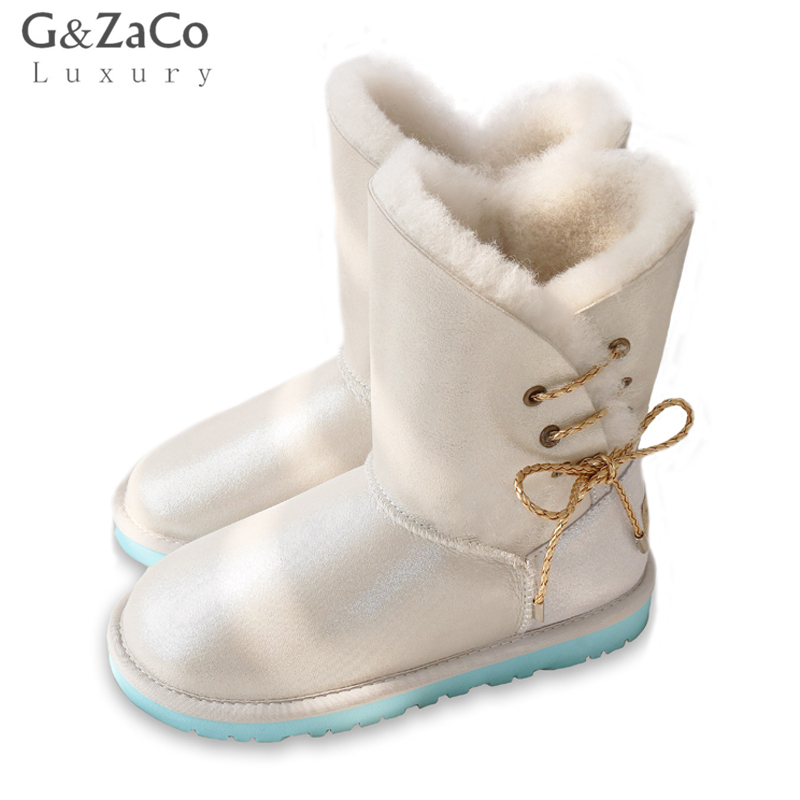 G&Zaco Winter Sheepskin Snow Boots Mid Calf Side Lace Flats Boots Natural Wool Fur Boots Shearling Genuine Leather Female Shoes fashion hot winter hand embroidery flowers women snow mid calf boots sheep wool high qualit flats street style beauty boots 26