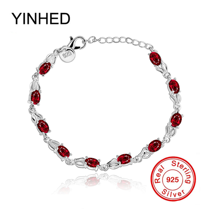 YINHED Pure 925 Silver Bracelet Red Garnet Bracelet with Red Rhinestone Health Fashion Jewelry For Women ZH350 ...