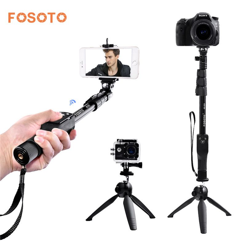 fosoto FT-777+228 Selfie Stick VS YT-1288 bluetooth 50 Handheld monopod Tripod Base Stand For Gopro Dslr Camera IPhone7 8