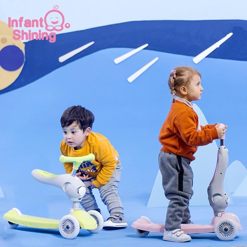 Bébé brillant enfants Scooter multifonctionnel Balance vélo réglable 3 roues bébé marcheur 1 6y Tricycle vélo tour sur jouets cadeau-in Voitures électriques pour enfants from Jeux et loisirs    1