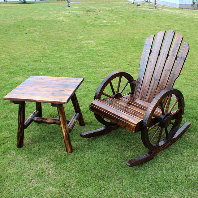 Superieur Savage Valley Carbonized Wood Preservative Wood Rocking Chairs Wheel Outdoor  Terrace Garden Patio Creative Leisure Furniture